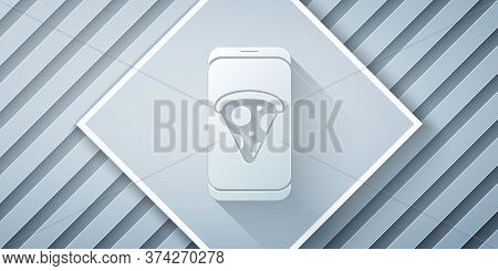 Paper Cut Food Ordering Pizza Icon Isolated On Grey Background. Order By Mobile Phone. Restaurant Fo