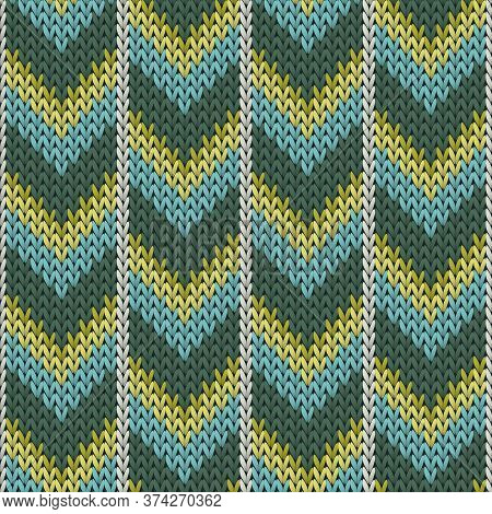 Fashionable Downward Arrow Lines Christmas Knit Geometric Vector Seamless. Blanket Knitting Pattern