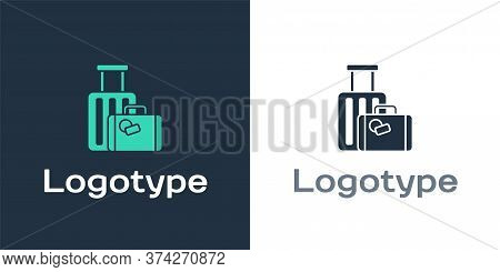 Logotype Suitcase For Travel Icon Isolated On White Background. Traveling Baggage Sign. Travel Lugga