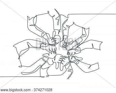 One Line Drawing Of Arm Hands With Thumbs Up And Thumbs Down Gesture Sign. Good Excellence And Bad W