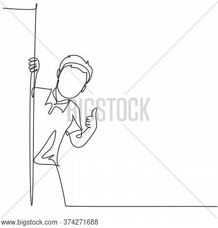 One Line Drawing Of Young Happy Student Boy School Student Appeared From Behind The Wall And Giving
