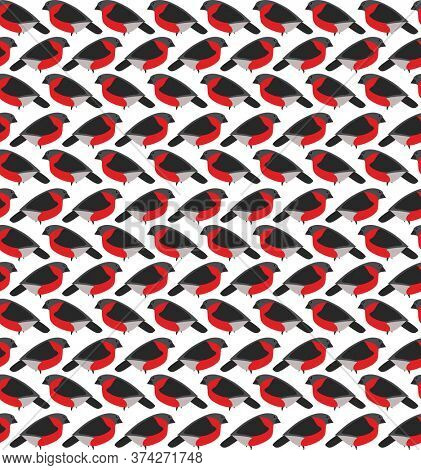 Stylized seamless pattern with red bullfinches