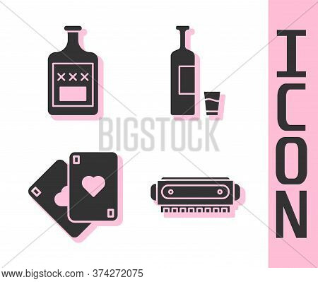 Set Harmonica, Whiskey Bottle, Playing Cards And Whiskey Bottle And Glass Icon. Vector