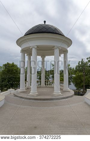 Old Historical Architecture In Kostroma City, Ostrovsky Gazebo. Concept Of Art And History.