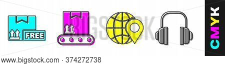 Set Cardboard Box With Free Symbol, Conveyor Belt With Cardboard Box, Location On The Globe And Head