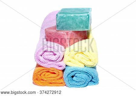 Soap Bars On Facecloths Off Various Shades With Some In Rolls