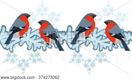 Red bullfinches on winter branches. Seamless pattern, endless texture