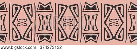 Simple Aztec Style Seamless Border In Pink And Black. Folk Style Ethnic Or Tribal Banner In Simple H