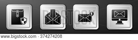 Set Envelope With Shield, Envelope, Envelope And Monitor And Envelope Icon. Silver Square Button. Ve