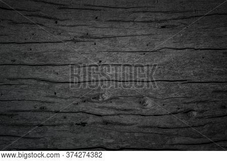 Black Wood Texture Background. Abstract Dark Wood Texture Black Wall. Aged Wood Plank Texture Patter
