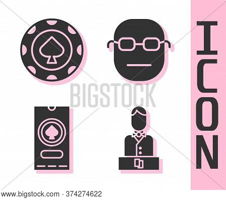 Set Casino Dealer, Casino Chips, Casino Poker Tournament Invitation And Poker Player Icon. Vector