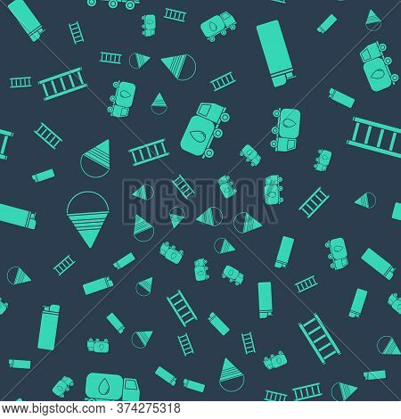 Set Water Delivery Truck, Lighter, Fire Cone Bucket And Fire Escape On Seamless Pattern. Vector
