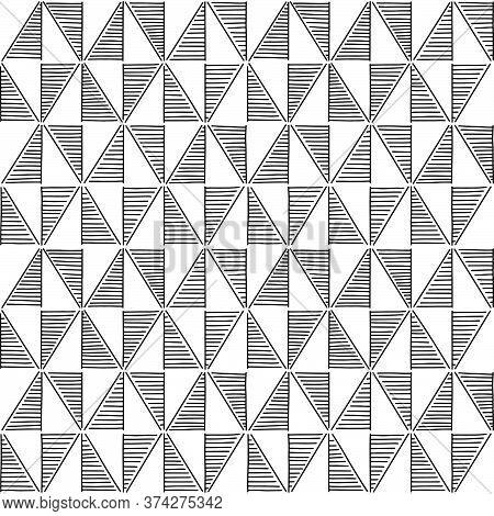 Ornamented, Black And White Rhombus. Monochrome, Decorative Rhombus Seamless Background. Vector Illu