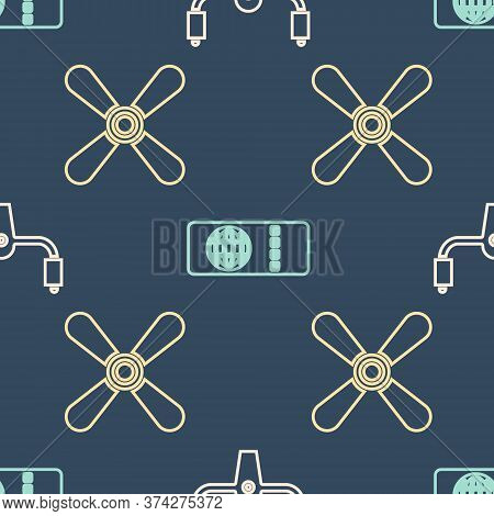 Set Isometric Aircraft Steering Helm, Plane Propeller And Airline Ticket Icon. Vector