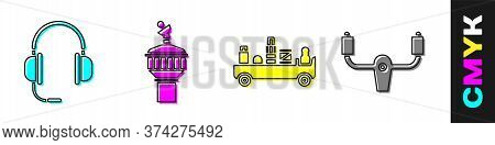 Set Headphones With Microphone, Radar, Airport Luggage Towing Truck And Aircraft Steering Helm Icon.