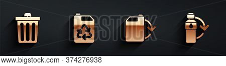 Set Trash Can, Eco Fuel Canister, Eco Fuel Canister And Recycling Plastic Bottle Icon With Long Shad