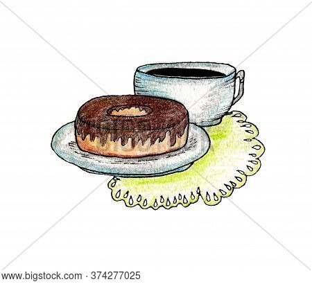 Donut And Coffe Hand Draw Illustration, Color Pensils Art For Design And Creativity