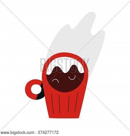 Espresso Coffee, Small Coffee Cup With Hot Italian Coffee Drink With Steam, Isolated Doodle Icon, Ve