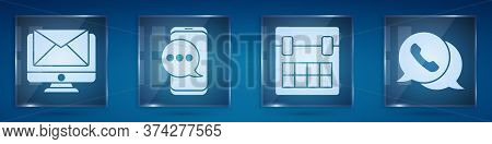 Set Monitor And Envelope, Chat Messages Notification On Phone, Calendar And Telephone With Speech Bu