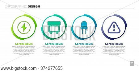 Set Lightning Bolt, Fuse, Light Emitting Diode And Exclamation Mark In Triangle. Business Infographi