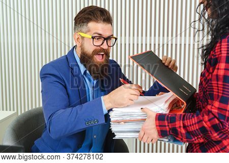 Young Businessman Working At Office. Successful Bearded Man At Work. Bearded Man Working With Papers