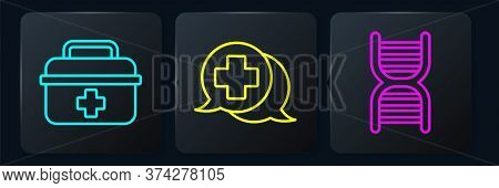 Set Line First Aid Kit, Dna Symbol And Dialogue With The Doctor. Black Square Button. Vector