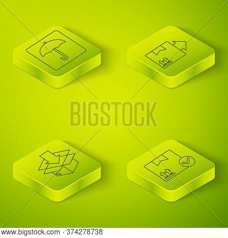 Set Isometric Cardboard Box With Traffic Symbol, Cardboard Box With Traffic Symbol, Package Box With