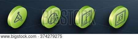 Set Isometric Triangle Musical Instrument, Vinyl Disk, Music Note, Tone And Music Note, Tone Icon. V