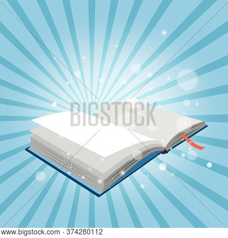 Mystery Open Book. Bright Sparkling Bubbles Illuminating Pages Of Cartoon Book With Bookmark, Vector