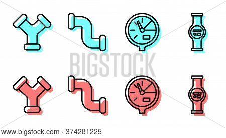 Set Line Water Meter, Industry Metallic Pipe, Industry Metallic Pipe And Water Meter Icon. Vector