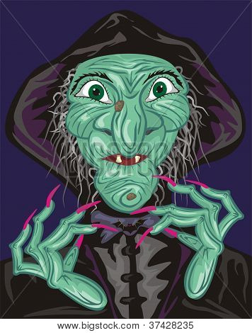 green witch face