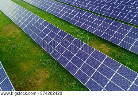 Solar Power Energy Is Clean Technology From The Sun For Protect Ecology .this Is A Big Plant. Many S