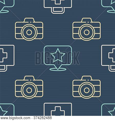 Set Line First Aid Kit, Photo Camera And Map Pointer With Star On Seamless Pattern. Vector