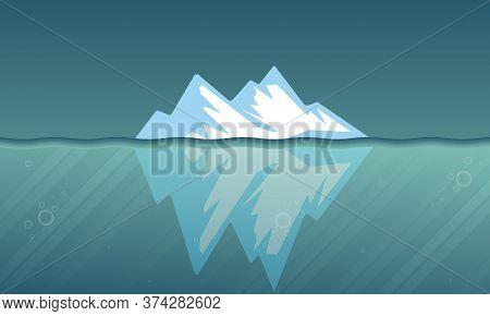 Surface And Underwater Iceberg, Vector Art Illustration.