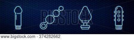 Set Line Anal Plug, Dildo Vibrator, Anal Beads And Dildo Vibrator. Glowing Neon Icon On Brick Wall.