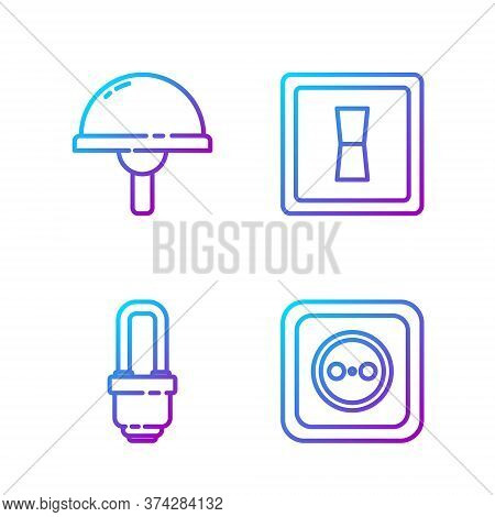 Set Line Electrical Outlet, Led Light Bulb, Light Emitting Diode And Electric Light Switch. Gradient