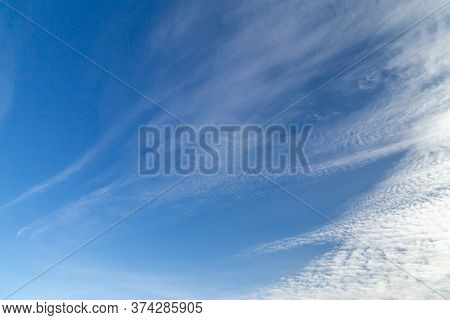 Sky With Windy Weather Clouds Scatered By Harsh Wind. Windy Weather Concept. Climate Change Backgrou