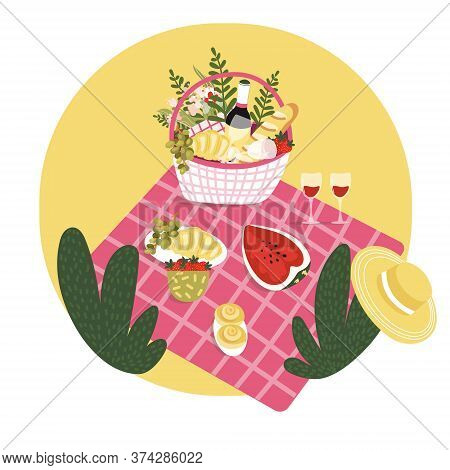 Picnic Basket With Fruit, Croissant, Bottle Of Wine, Flowers On The Blanket. Summer Outdoor Leisure