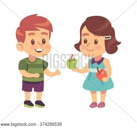 Kids Good Manners. Cartoon Girl Shares Apple With Boy, Children Respectful And Thankful Behavior, Sy