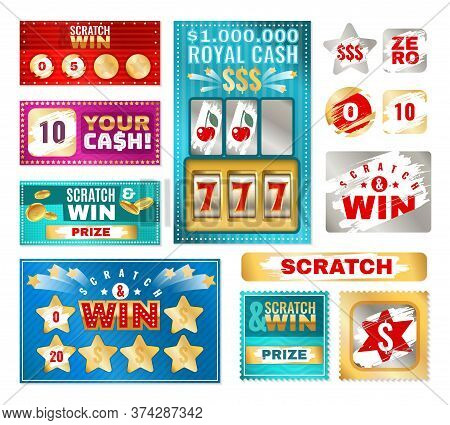 Scratch Cards. Instant Lottery Tickets For Card Game. Lucky Winning And Loser Coupon With Scratches