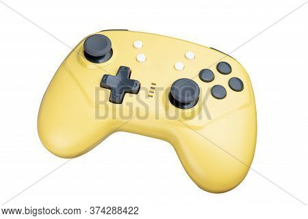 Yellow Controller For A Video Game Isolated On A White Background. Full Depth Of Field.