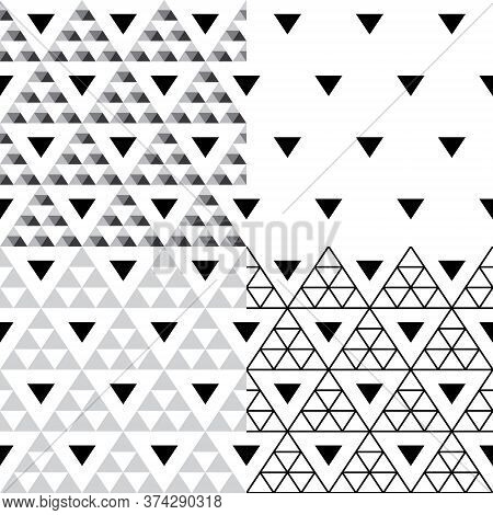 Triangle Vector Seamless Pattern Set - Collection Of Four Geometric Repetitive Textile Designs