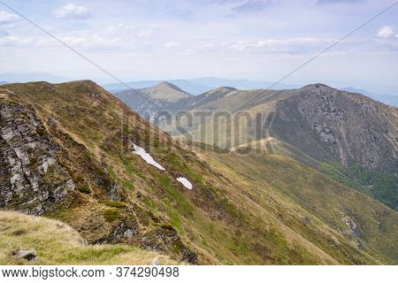 Mountain Range Nature Landscape. Mountain Layers Landscape. Springtime In Balkan Mountains Landscape