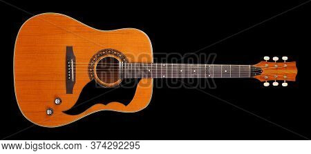 Musical Instrument - Front View Very Rare Vintage Acoustic Guitar Folk Country Isolated On A Black B
