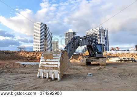 Construction Of Foundation Excavator Works In Sand Pit. Groundworks, Site Levelling, Construction Of