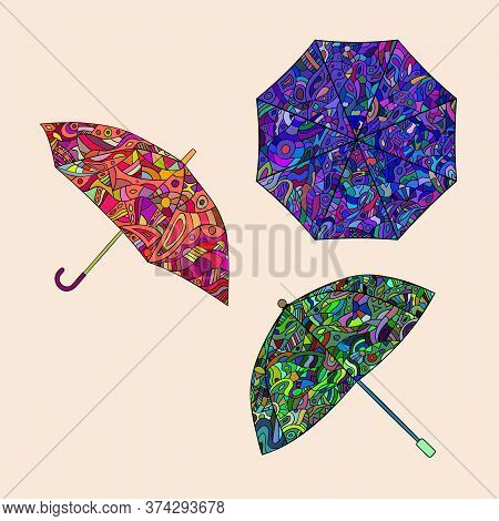 Zentangle Style, Set Of Multi-colored Umbrellas. Vector Illustration.