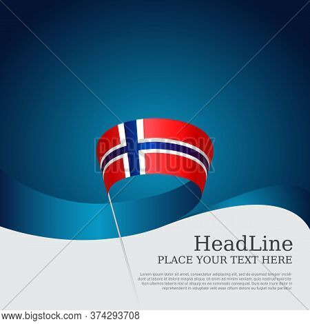 Background With Flag Of Norway. National Norwegian Poster. Flag Of Norway With Wavy Ribbon On A Blue