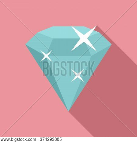 Shiny Game Diamond Icon. Flat Illustration Of Shiny Game Diamond Vector Icon For Web Design