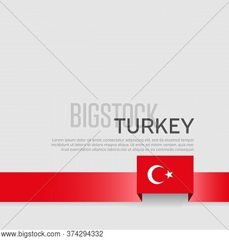 Turkey Flag Color Ribbon On A White Background. Background With Flag Of Turkey. Business Booklet. St