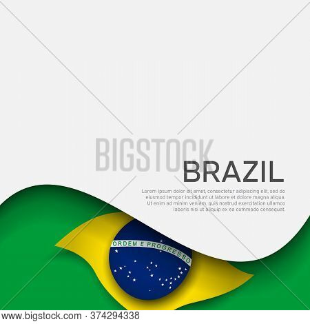 Abstract Waving Brazil Flag. Creative Background In Brazil Flag Colors For Holiday Card Design. Pape